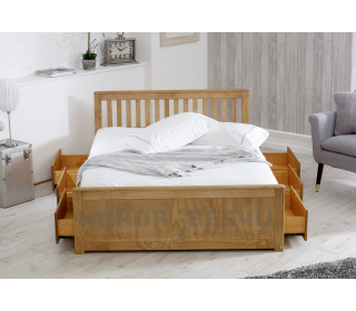 Mission Wooden Pine Storage Bed with Drawers - Double 4'6