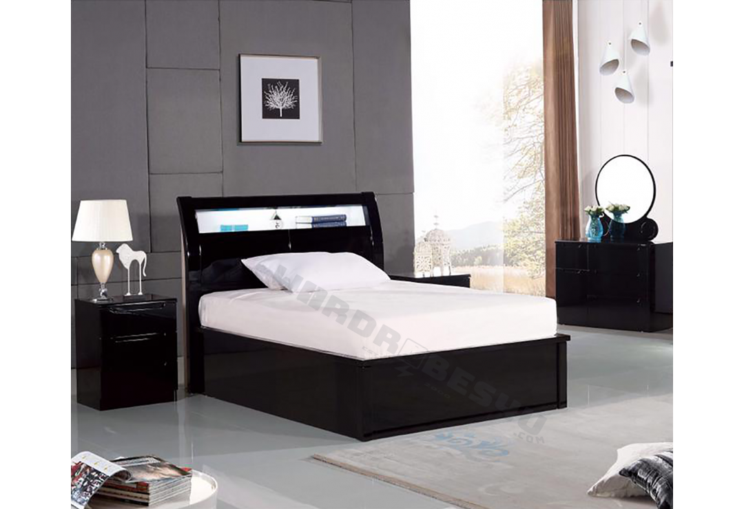 Pleasing High Gloss Storage Ottoman Led Bed Single Wardrobes4U Ocoug Best Dining Table And Chair Ideas Images Ocougorg