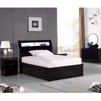High Gloss Rugby Storage Ottoman Touch Sensor USB Charger LED Bed - Double 4'6