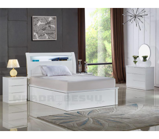 High Gloss Rugby Storage Ottoman LED Bed - Single 3'0