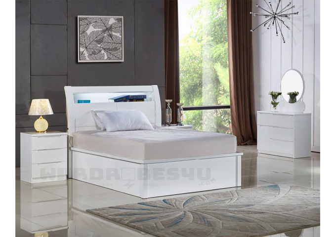 Marvelous High Gloss Storage Ottoman Led Bed Single Wardrobes4U Ocoug Best Dining Table And Chair Ideas Images Ocougorg